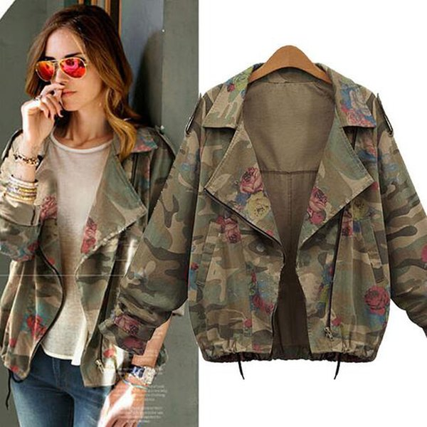 Women's Plus Size Jacket Fashion Slim Camouflage Jacket American Style Fall Floral Printing Coat Women Denim Trench Outwear Free Shipping
