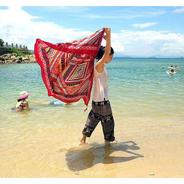 Ronde National Wind Tassel Tapisserie Serviette Été Natation Sunbath Beach Serviettes Rouge Voyage Porter Plage Robe