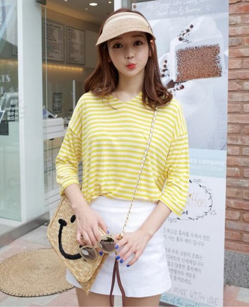top popular Bowknot empty top straw hat Lady summer vacation prevented bask sun cap Hair band type design visors 2020