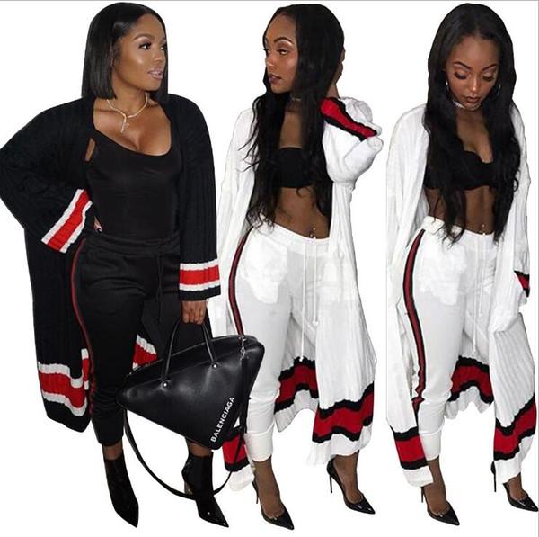 Sexy sexy Zweiteiler-Set 2-farbiger Druck Trainingsanzüge passen sexy lange Strickjacke Jacke + Hosen Lose beiläufige Sportanzüge