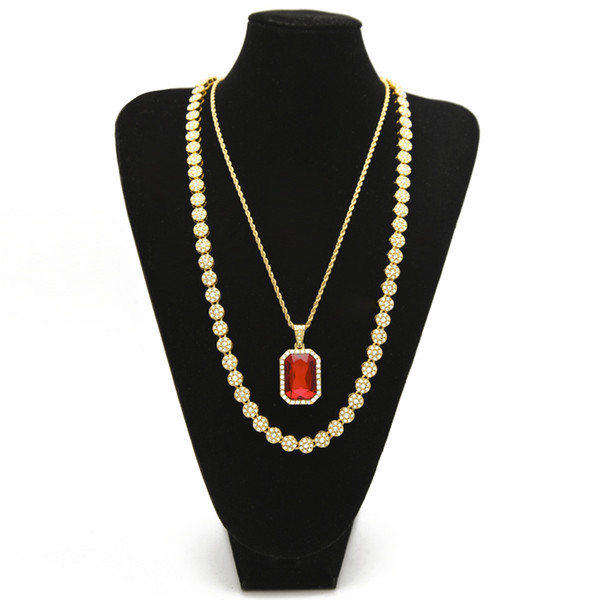"""Men's Hip hop Jewelry Set 30"""" lced Out Rhinestone 1 Row Round Necklace Chain With Square Red Blue Crystal Pendant Necklace"""