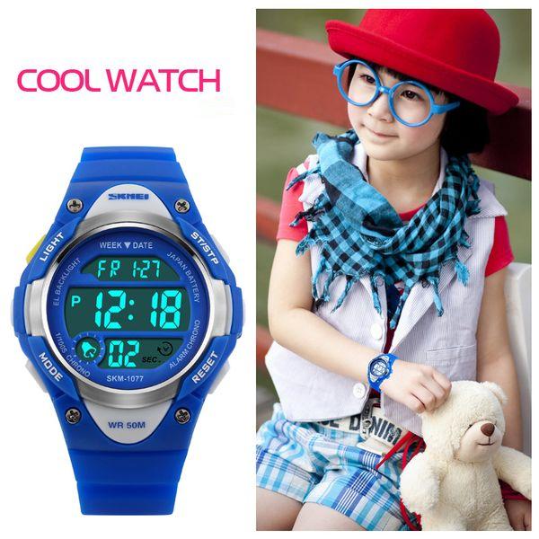 Skmei Bambini Orologi sportivi Svegli LED Digital Sport Watch Allarme Cartoon Cronometro impermeabile Orologio da polso per Boy Kids Girls 1077