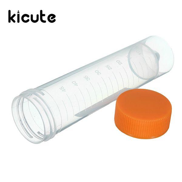Venta al por mayor- Kicute 10pcs 50ml Tubos de ensayo de centrífuga de plástico con tapones de rosca Vial Container Self Standing Equipo de laboratorio Suministros