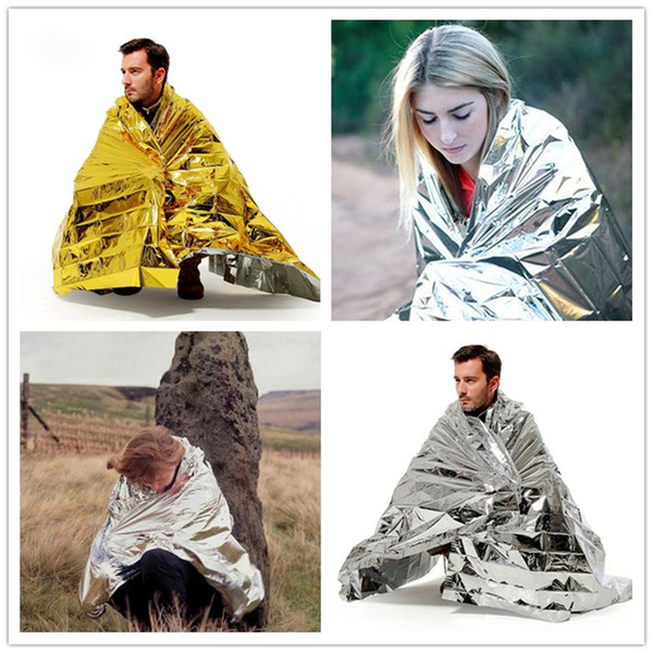 New Fashion WaterProof Emergency Blanket Survival Rescue Blanket Foil Thermal Space First Aid Sliver Rescue Curtain Outdoor Pads B0959