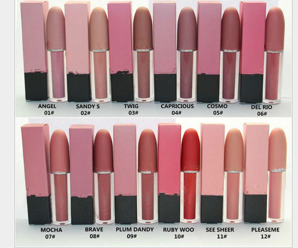 top popular HOT New Makeup Matte Lipstick Lips Lip Gloss 12 colors Free shipping by boomboom 2020