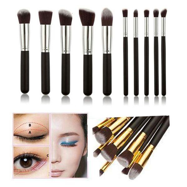 10 pcs Kabuki Maquillage Brosses Set Outils Cosmétique Maquillage Brosse Outils Avec Nylon Cheveux Maquillage Top Qualité