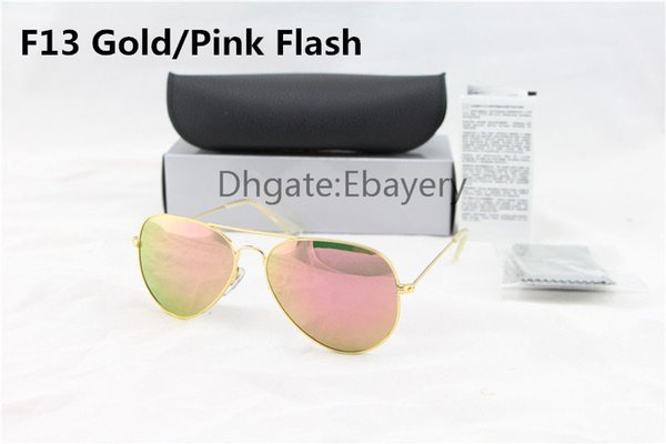 High Quality Men Women Designer Pilot Sunglasses Sun Glasses Gold Flash Pink Mirror Glass Lenses 58mm 62mm UV400 Protection Boxes Case
