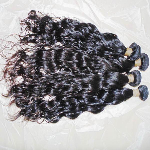 4pcs/lot 8A Indian Raw virgin Hair Water Wavy Natural Black Color 100% Human Weave Bundles 10-28 inch BIG Sale