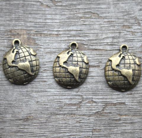 20pcs--Globe Charms, Antique Bronze Lovely Mini Globe Charm Pendants,Earth Pendants 15x18mm