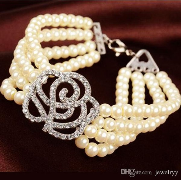 Crystal Hollow Flower Rose Bracelet Multi Layer Pearl Crystal Charm Bracelets Elegant Beaded Bangle For Women Wedding Prom Party Jewelry