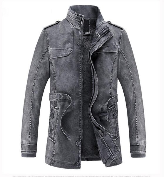 Men's Leather Jackets Autumn and Winter Black Leather Jacket For Men Faux Leather Coats PU Jackets Overcoats Free Shipping