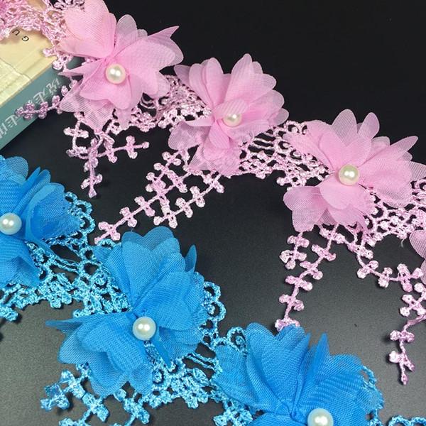15 Yard / Lot Multi Couleur en mousseline de soie perlé dentelle trim bricolage Polyester robe de mariée vêtements accessoires décoration dentelle tissu 7 cm de large