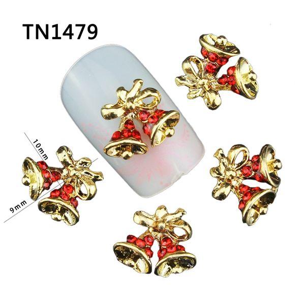 Al por mayor-Blueness 10Pcs Christmas Bells Design Manicure Tips Brillo Aleación de oro Rhinestones rojos para encantos 3D Nail Art Decorations TN1479