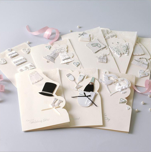 best selling wedding invitations cards wholesale elegent white invitaitons paper cards 8 styles for choose with envelope hiqh quality