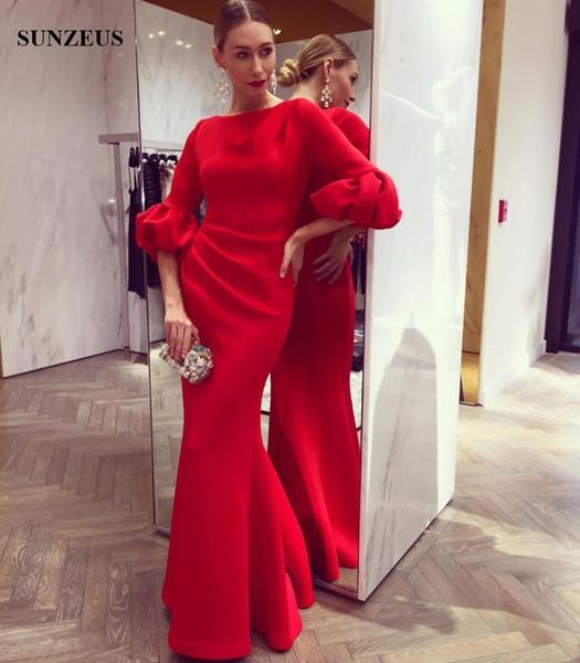 Sheath Long Red Evening Dress With Half Sleeves Elegant Women Formal Party Dress 2017 Fall Winter Gowns vestido vermelho longo
