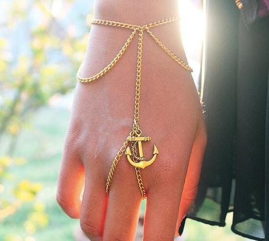 Europe and the United States Personalized Hand Chain Retro Anchor Chain Tassel Connect Your Finger Bracelet