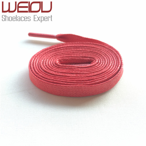 Wellace Red waxed cotton flat shoelaces waxed lacing cord wax thin Good Quality shoelaces for Boots Leather shoes