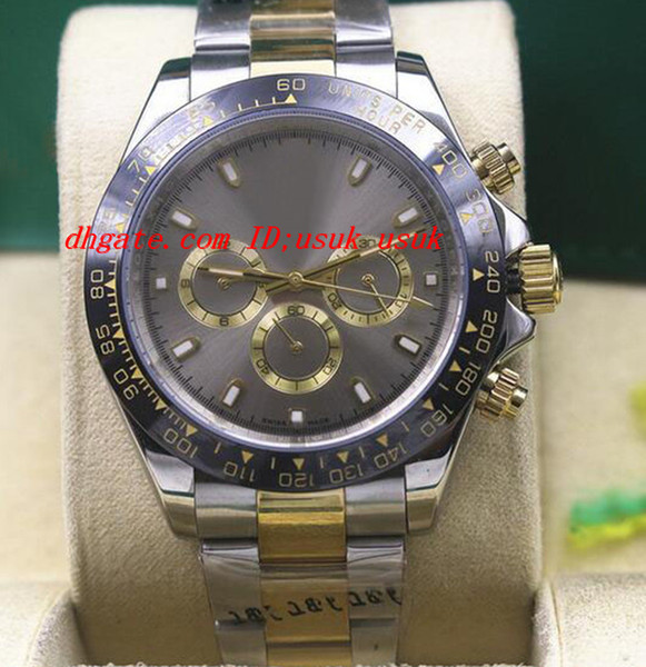 Luxury Wristwatch 116523 Mens Silver Stainless Steel CERAMIC Bezel Grey Dial 40MM Mechanical Watches New Arrival