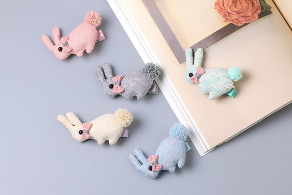 Boutique 20pcs/5C Fashion Cute Fabric Bowknot Lace Bunny Hairpins Solid Kawaii Pom Pom Tail Rabbit Girls Hair Clips Headware Accessories