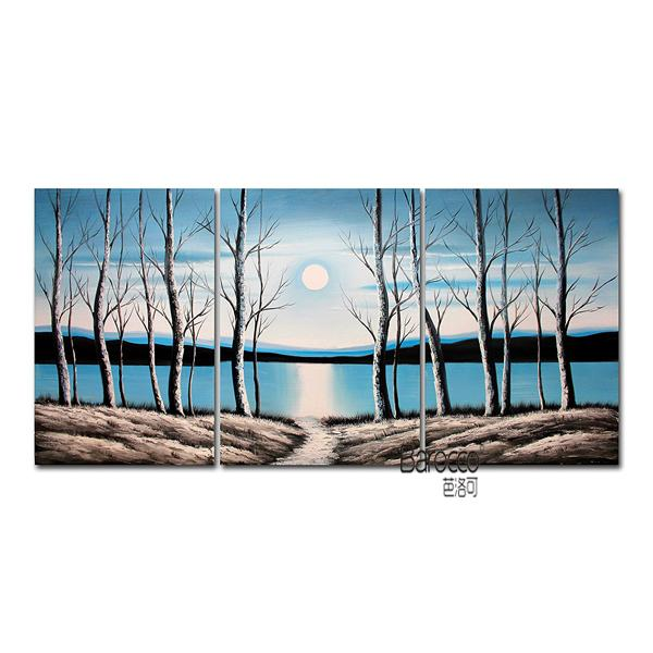 Woods River Sun Winter Hand Painted Abstract Scenery Oil Painting Modern Wall Art Home Decoration 3 Pieces