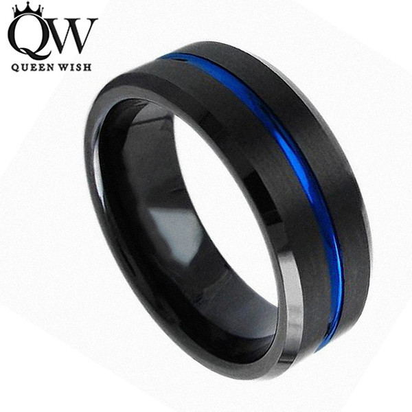 Queenwish Tungsten Engagement Rings for Men 8mm Tungsten Carbide Ring Black Brushed Blue Stript Matching Couple Wedding Band Unique Jewelry