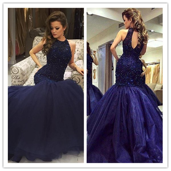 2017 Dark Navy Mermaid Prom Dresses Bling Bling Beaded Sequins Jewel Neck Hollow Back Sexy Celebrity Gowns Formal Evening Dresses