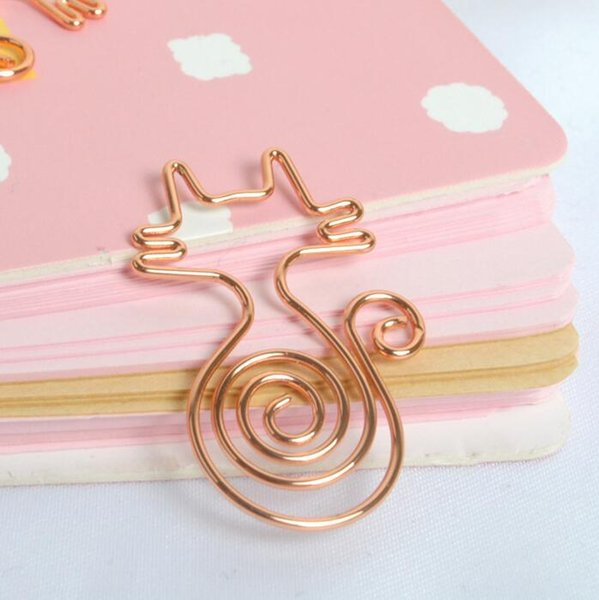 top popular 12pcs set Rose Gold Cat Paper Clips Cute Kawaii Bookmark Memo Clip For Office School Supplies Stationery 2021