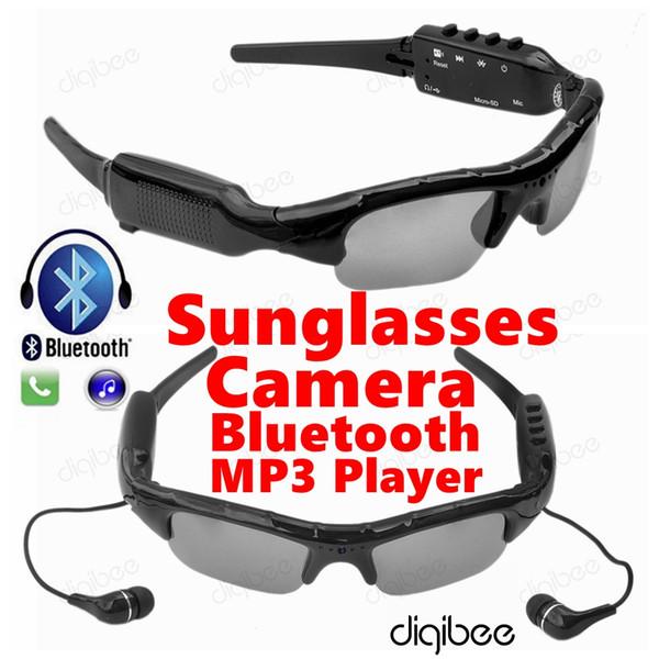 Wholesale- Smart Glasses MP3 Player Stereo Bluetooth Headset HD 720P Mini Camcorder Sunglasses Camera DV DVR Digital Video Audio Recorder