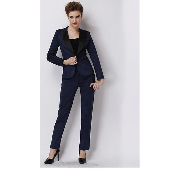 Women Pant Suits Navy OL Style Long Sleeves Suit Formal Business Slim Suit For Autumn Spring Ladies Trouser Suits Female Suits