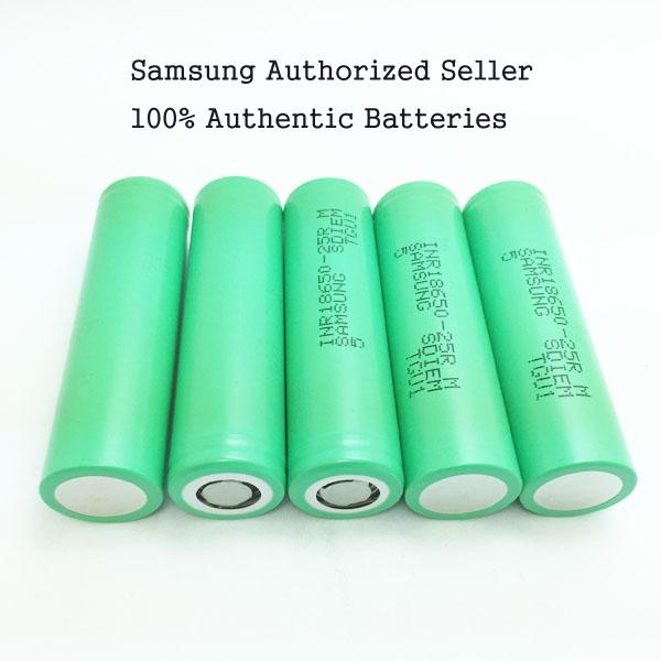 best selling 100% Authentic Samsung 18650 Battery 25R Rechargeable Lithium Batteries - Real 2500mah 20A High Drain Vape Mods Batteries