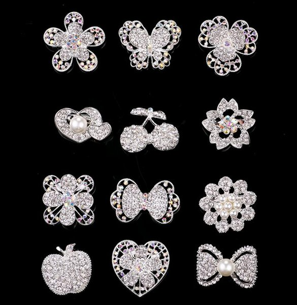 Upscale Smaller Korea Pearl Flower Brooches Crystal Rhinestone Heart Butterfly Party Prom Pins Brooch Mix 10pcs