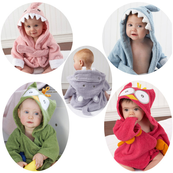best selling New 15 styles cute animal bathrobe Flannel Kids shark fox mouse owl model Robes cartoon Nightgown Children Towels Hooded bathrobes C1710