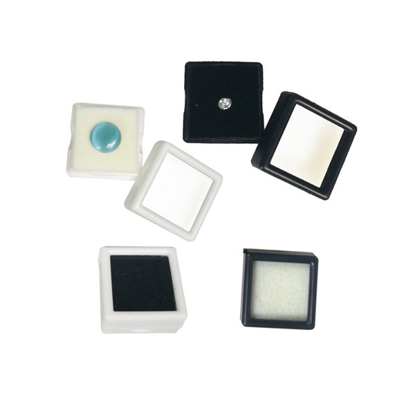 Wholesale Plastic Loose Diamond Display Package Box Square White Gem Case Black Memory Foam Pad Beads Pendant Box Showcase 3*3*2cm 100PCS