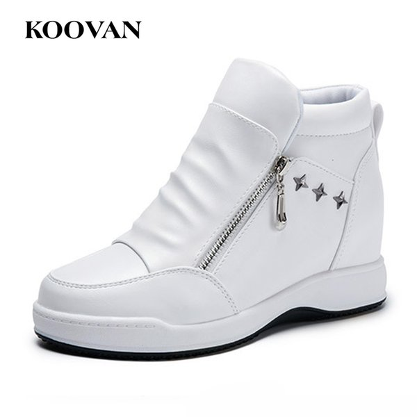 Hot Sale White Boot European Ankle Boots Ladies Shoes Koovan Fashion Casual Shoe 2017 New Autumn Chunky Heel High Quality Wholesale W473