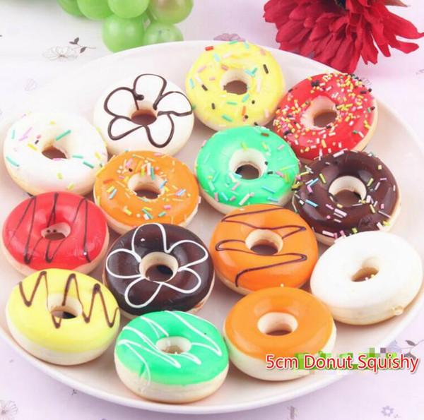 Free Ship 30pcs 3D Cartoon 5cm Whole Donut Squishy charm mobile pendant Cell Phone Straps Bag Charm Christmas Gift
