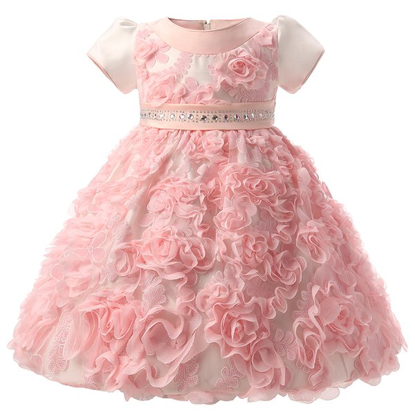 Wholesale- Flowers Baby Frock Designs Newborn Baby Girl Baptism Gown Tutu First Birthday Dress For Infant Kids Party Formal Dress Clothing