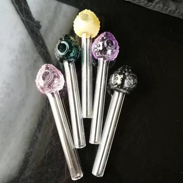 Nueva olla de color fresa recta, bongs de cristal al por mayor, cachimba de vidrio, accesorios de pipa de humo