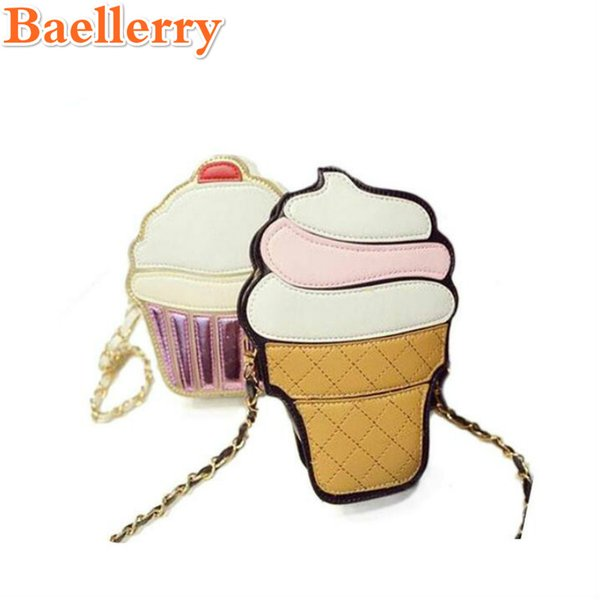 Wholesale- 2017 Cartoon Cupcake Women Ice Cream Pattern Bag Lady Mini Leather Chain Clutch Crossbody Bag Girl Shoulder Cute Messenger Bag