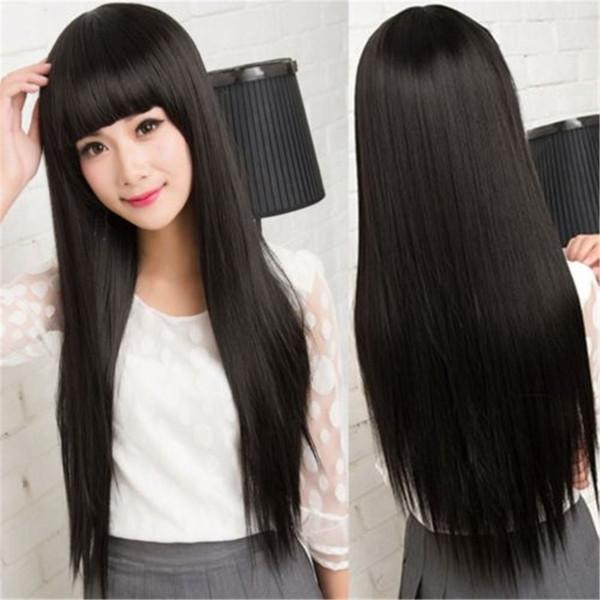 FULL LACE WIGS Droite Degrés Dans L'Original Sans Colle Glueless Cheveux Humains 100% Brésil Noir Couleur # 1B Femmes Tissage Wig Full Lace Wig