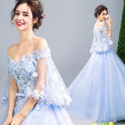 2017 New Arrival In Stock Wedding Dresses & Events Floor Length Formal Bateau blue Poet Organza Evening Gowns Dinner party dress