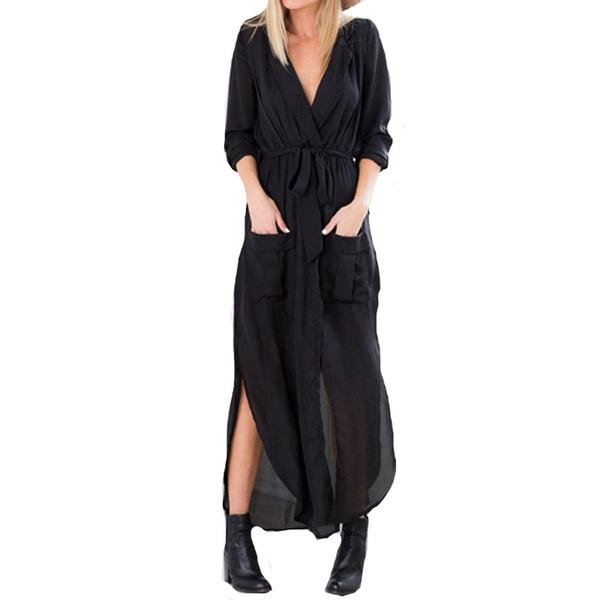 Vestidos 2017 Spring Women Vintage Casual Loose Long Maxi Split V Neck Dress Sexy Ladies Chiffon Beach Dress US Plus Size 4-24