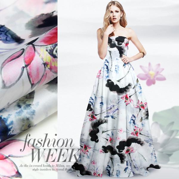 135cm wide 14mm ink lotus print silk organza fabric for dress shirt clothes pants D045