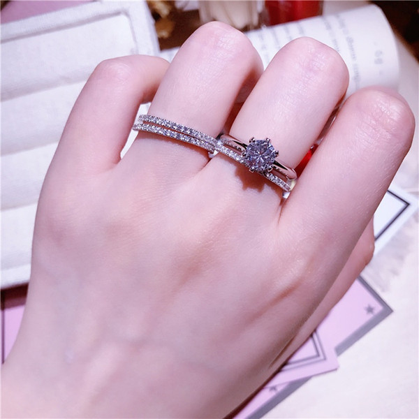 1 pair rings for women Jewelry Set Mix and match 925 Sterling silver Wedding party diamond female tail finger ring girlfriend birthday gift