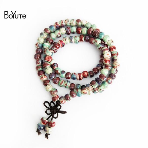 BoYuTe Nuevo Producto Mujeres Hechas A Mano Jingdezhen Bangles Bohemia Estilo Moda Cuentas de Cerámica Pulsera Warp Prayer Mala Pulsera