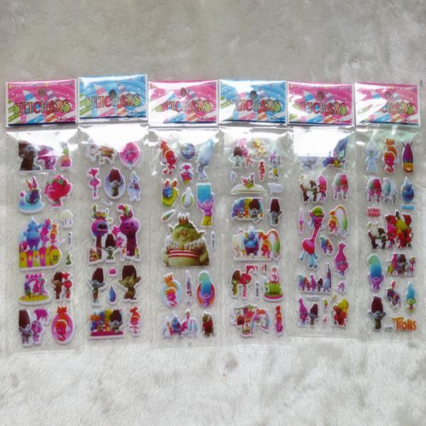 top popular Trolls Poppy Sticker 3D Cartoon stickers 7*17cm party Decorative Wall Desk Book Stickers paper game Children gift toys HOT6 2020
