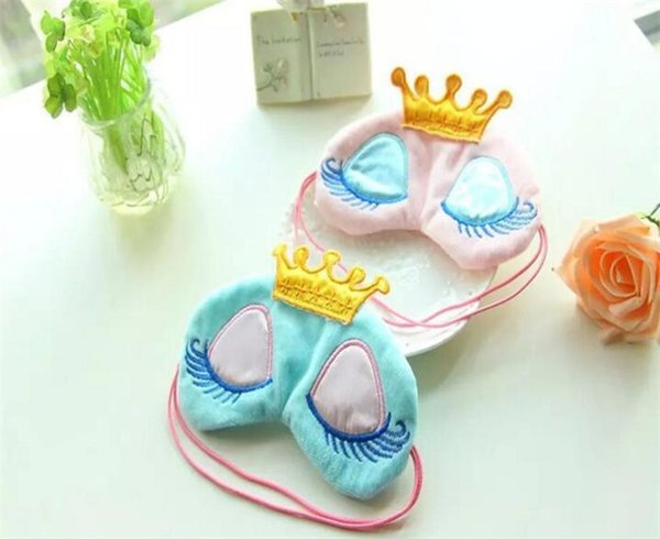New Portable Lovely Cute Cotton Long Eyelashes Crown Style Eye Shade Sleeping Eye Mask 2 color A070