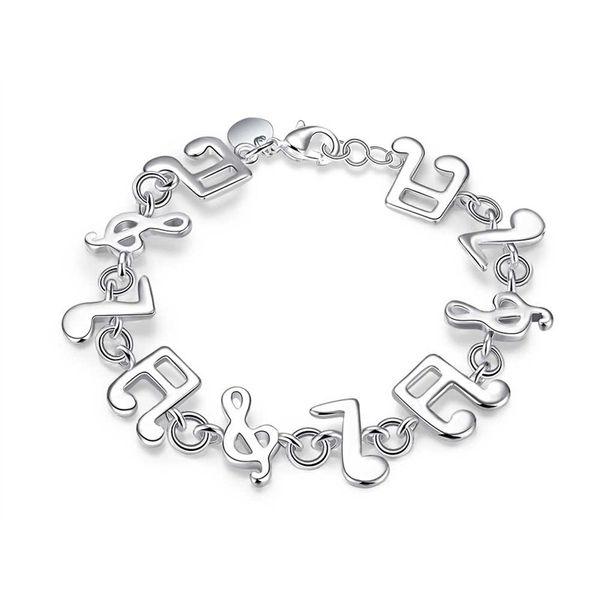 Braccialetto popolare d'argento della nota musicale della catena a maglia del metallo placcato d'argento popolare con fascino per le ragazze Trasporto libero