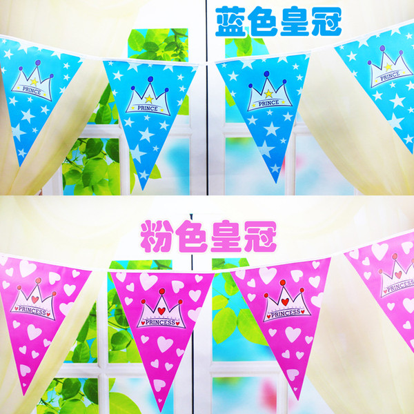 Wholesale- 3.0 Meter Cartoon Paper Flags Party Decoration Banner For Children's Birthday Anniversary Paper Flag Baby Shower Party Supply