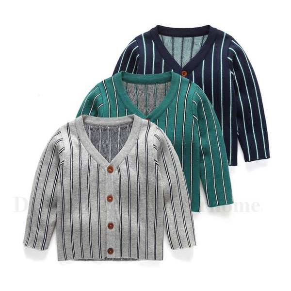Baby Cardigan Sweater Toddlers Stripes Knit Coat Kids Printed Fashion Knitwear V Neck Cardigans Children Cotton Casual Clothing 3 Color H620