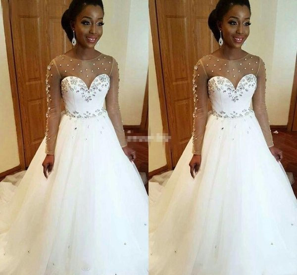 2019 South Africa A Line Wedding Dresses Scoop Neck Long Sleeves Illusion Sheer Crystal Beaded Hollow Back Sweep Train Plus Size Gowns DTJ